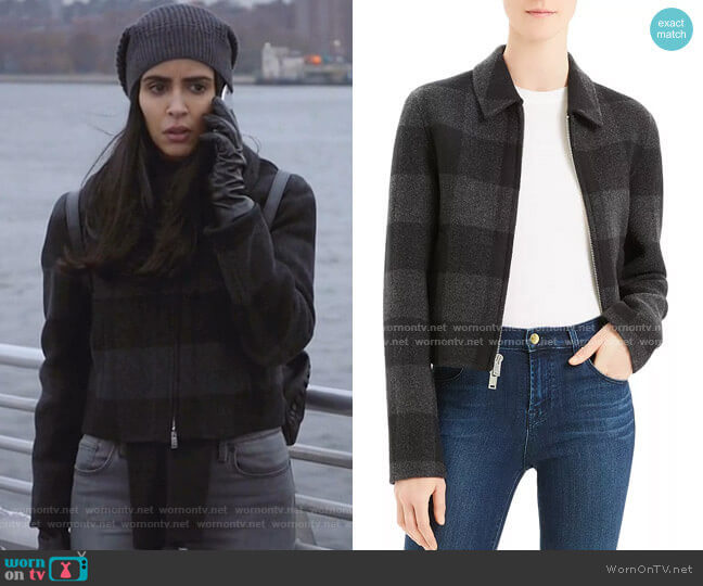Wool Buffalo Plaid Zip Jacket by Theory worn by Saanvi (Parveen Kaur) on Manifest