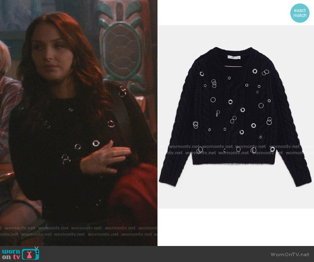 Cable Knit Sweater with Eyelets by Zara worn by Jo Wilson (Camilla Luddington) on Greys Anatomy