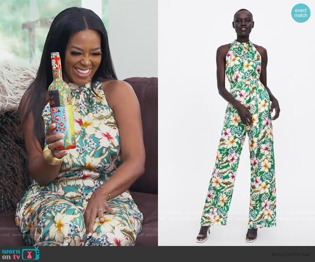 Flowy Halter Top Jumpsuit by Zara worn by Kenya Moore  on The Real Housewives of Atlanta