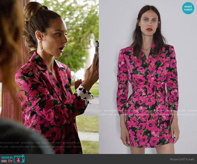 Zara Floral Print Blazer Dress worn by Zari Tomaz (Tala Ashe) on Legends of Tomorrow