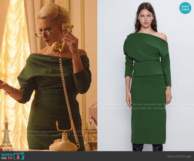 Zara Green Ruched Sleeve Top and Midi Pencil Skirt worn by  Gloria Grandbilt (Katherine LaNasa) on Katy Keene