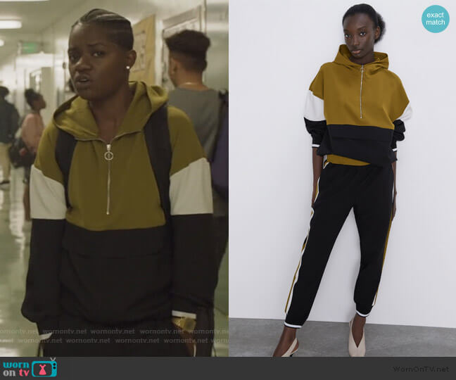 Jacket with Pouch Pocket by Zara worn by Tamia Cooper (Bre Z) on All American
