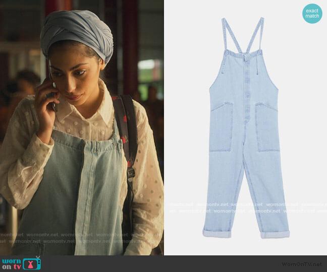 Blue Overalls by Zara worn by Nadia Shanaa (Mina El Hammani) on Elite