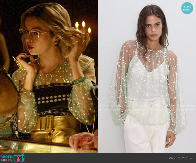 Zara Sparkly Semi-Sheer Top worn by Pepper Smith (Julia Chan) on Katy Keene