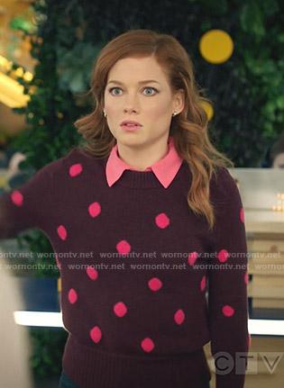Zoey's burgundy polka dot sweater on Zoeys Extraordinary Playlist