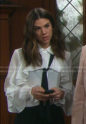 Abigail's white ruffled blouse with tie neck on Days of our Lives