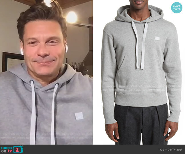 Ferris Face Hoodie Sweatshirt by Acne Studios worn by Ryan Seacrest