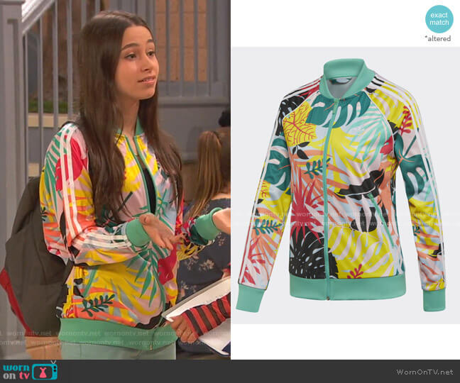 Tropicalage Graphic Trrack Jacket by Addidas worn by Tess O'Malley (Sky Katz) on Ravens Home