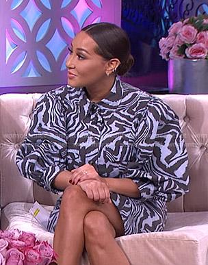 Adrienne's blue zebra print puff sleeve shirtdress on The Real