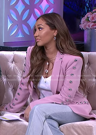 Adrienne's pink studded blazer on The Real