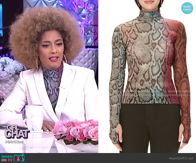 Zadie Semi Sheer Turtleneck by AFRM worn by Amanda Seales  on The Real