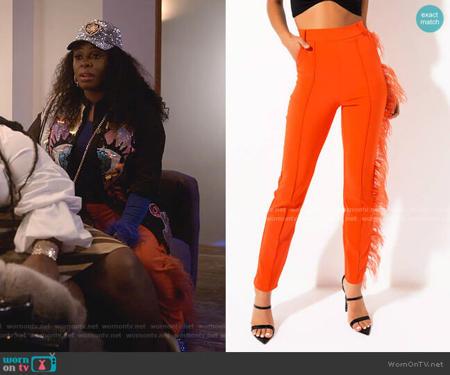 High Waisted Feather Trim Trousers by Akira Label worn by Porsha Taylor (Ta'Rhonda Jones) on Empire