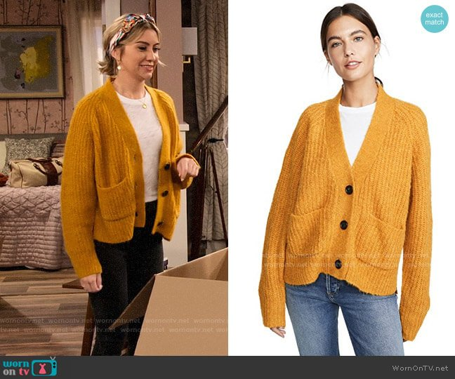ALC Cleveland Cardigan in Mustard worn by Ava Germaine (Chelsea Kane) on The Expanding Universe of Ashley Garcia