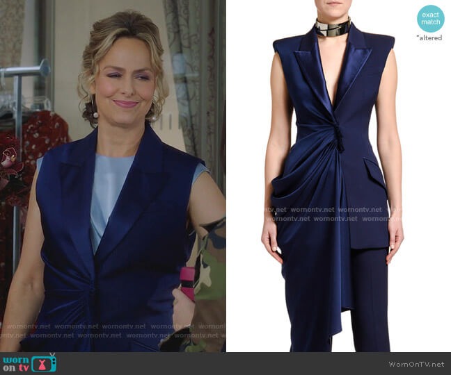 Asymmetric Single-Breasted Longline Wool Jacket by Alexander Mcqueen worn by Jacqueline (Melora Hardin) on The Bold Type