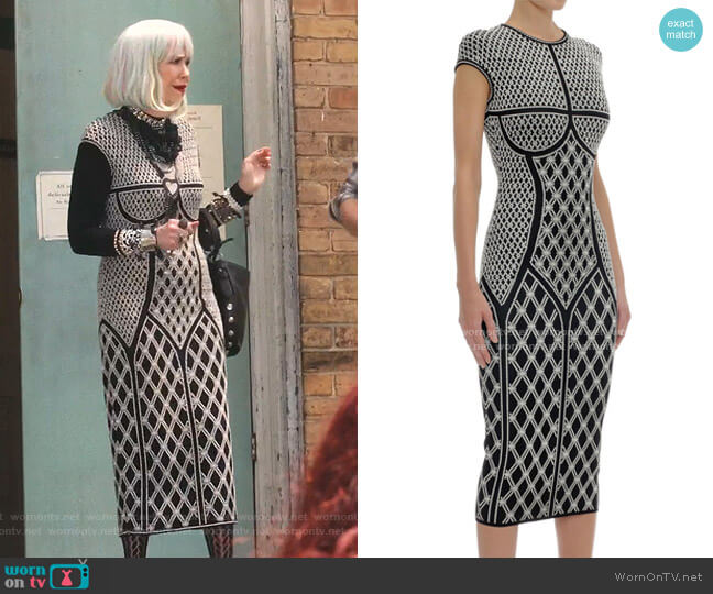 Rhombic Pearl Jacquard Knit Pencil Dress by Alexander McQueen worn by Moira Rose (Catherine O'Hara) on Schitts Creek