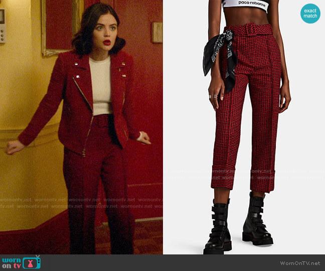 Alexander Wang Belted Houndstooth Tweed Cuffed Crop Trousers worn by Katy Keene (Lucy Hale) on Katy Keene