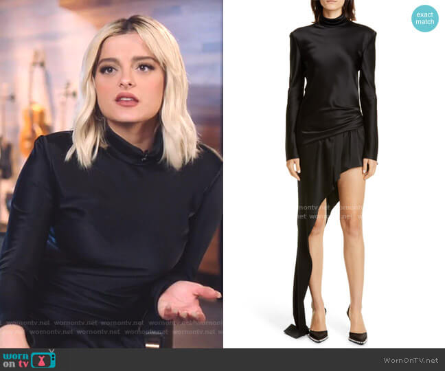 Asymmetrical Long Sleeve Satin Dress by Alexander Wang worn by Bebe Rexha on The Voice