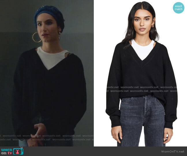 Bi-Layer V Neck Sweater by alexanderwang.t worn by Adena El-Amin (Nikohl Boosheri) on The Bold Type