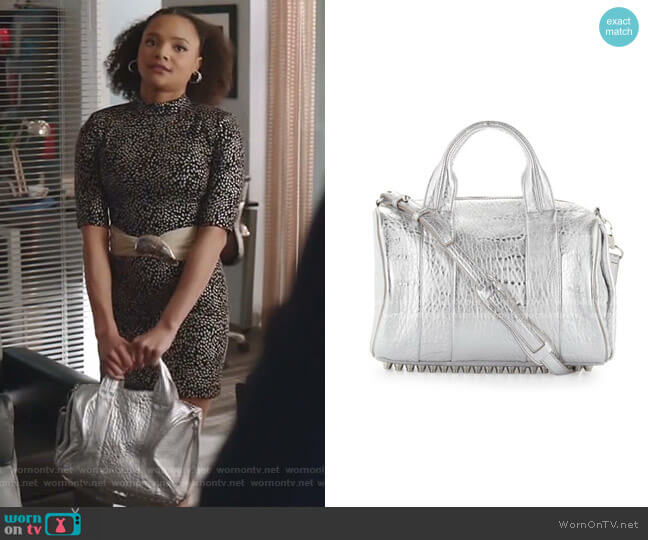 Rocco Stud-Bottom Satchel Bag by Alexander Wang worn by Vanessa (Jade Payton) on Dynasty