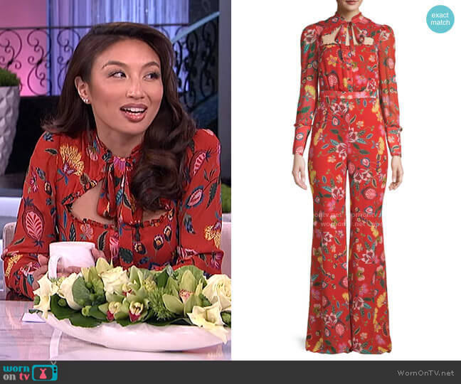 Imogene Floral Jumpsuit by Alexis worn by Jeannie Mai  on The Real