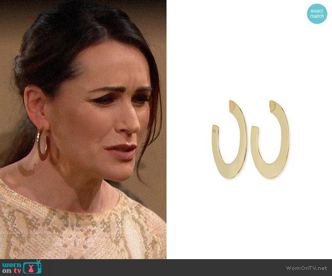 Alexis Bittar Enlarged Liquid Metal Orbit Hoop Earrings worn by Quinn Fuller (Rena Sofer) on The Bold & the Beautiful