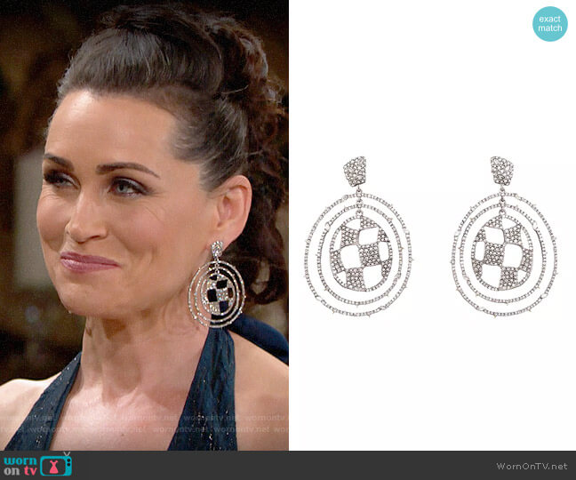 Alexis Bittar Modern Georgian Pavé Checkerboard Orbital Earrings worn by Quinn Fuller (Rena Sofer) on The Bold & the Beautiful