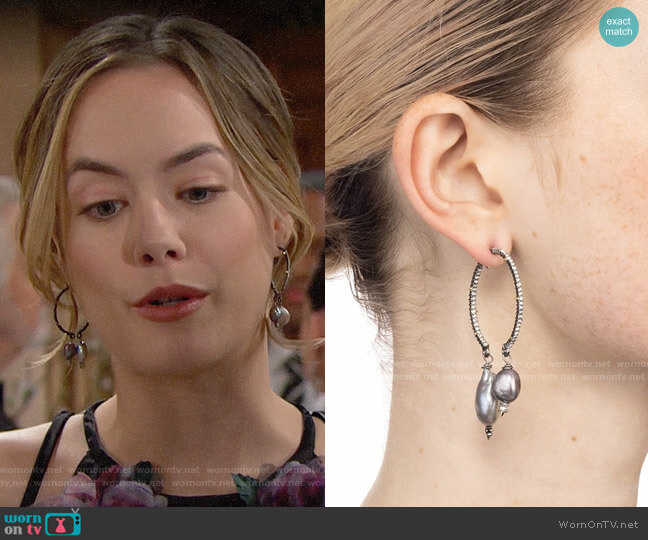 Alexis Bittar Two-Part Pave Hoop Earrings w/ Pearl Drops worn by Hope Logan (Annika Noelle) on The Bold & the Beautiful