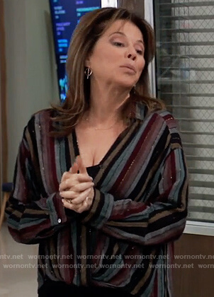 Alexis's metallic stripe blouse on General Hospital