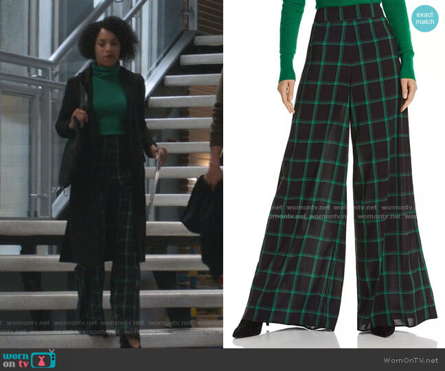 Athena Plaid Wide-Leg Pants by Alice + Olivia worn by Maggie Pierce (Kelly McCreary) on Greys Anatomy