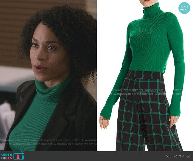 Roberta Rib-Knit Wool Turtleneck Sweater by Alice + Olivia worn by Maggie Pierce (Kelly McCreary) on Greys Anatomy