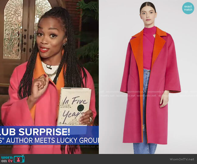 Tomiko Rversible Coat by Alice + Olivia worn by Rachel Lindsay on GMA