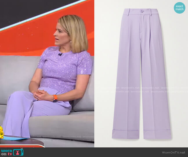 Tomasa Wide-Leg Pants by Alice + Olivia worn by Sara Haines  on Good Morning America