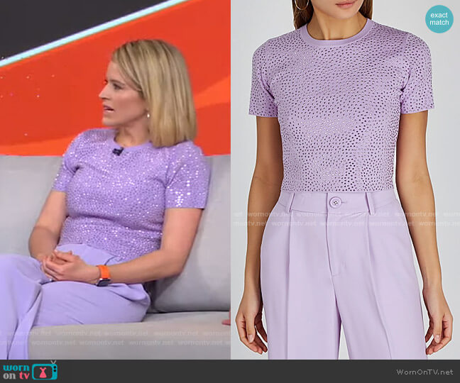 Ciara Stud-Embellished Top by Alice + Olivia worn by Sara Haines  on Good Morning America