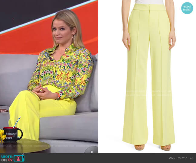 Dylan High Waist Wide Leg Pants by Alice + Olivia worn by Sara Haines  on Good Morning America