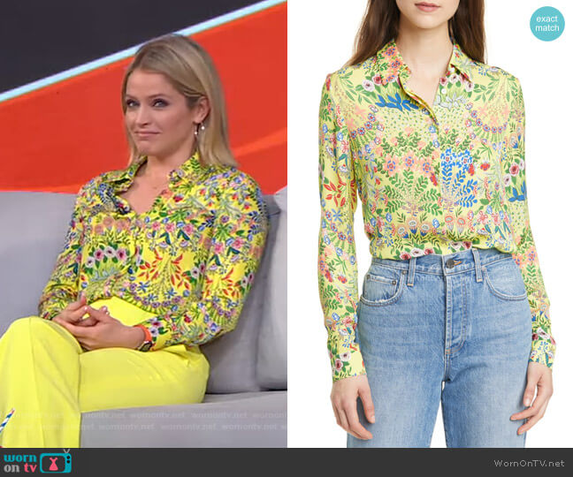 Willa Floral Print Blouse by Alice + Olivia worn by Sara Haines  on Good Morning America