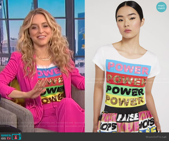 Mikey Tee by Alice + Olivia worn by Jenny Mollen on E! News