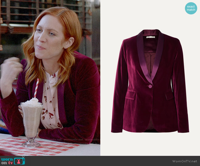 Alice + Olivia Macey satin-trimmed velvet blazer worn by Julia Bechley (Brittany Snow) on Almost Family