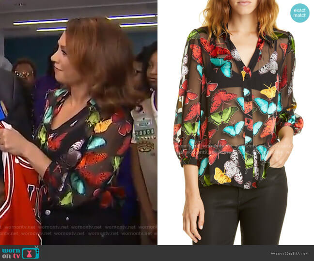 Sheila Butterfly Print Silk Blend Top by Alice + Olivia worn by Ginger Zee  on Good Morning America