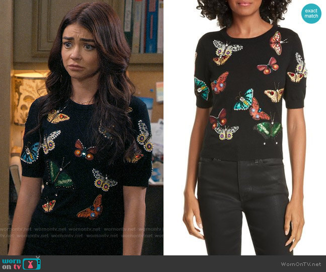 Alice + Olivia Ciara Butterfly Sweater worn by Haley Dunphy (Sarah Hyland) on Modern Family