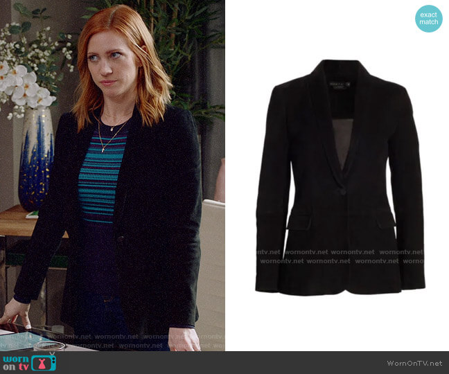Alice + Olivia Macey Suede Blazer worn by Julia Bechley (Brittany Snow) on Almost Family