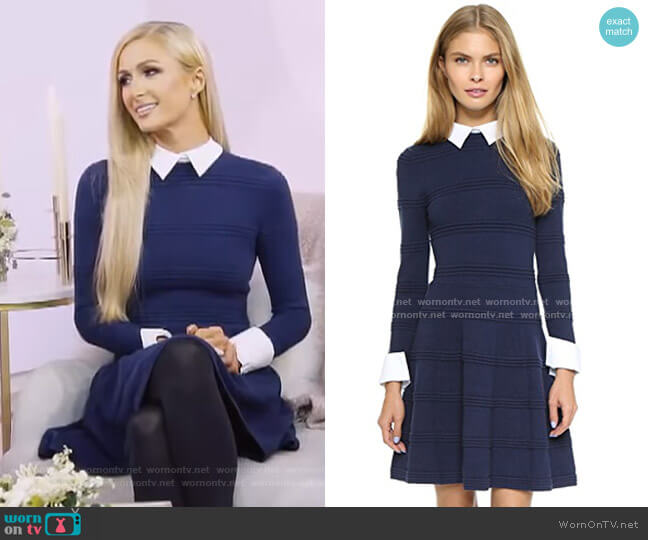 Textured Collared Dress by Alice + Olivia worn by Paris Hilton on Today Show
