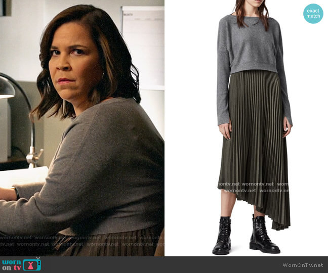 All Saints Evetta Asymmetrical Midi Dress with Crop Sweater worn by Sara Castillo (Lindsay Mendez) on All Rise