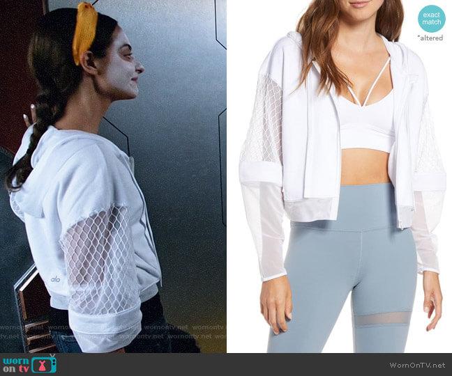 Alo Yoga Fadeaway Mesh Hooded Jacket worn by Zari Tomaz (Tala Ashe) on Legends of Tomorrow