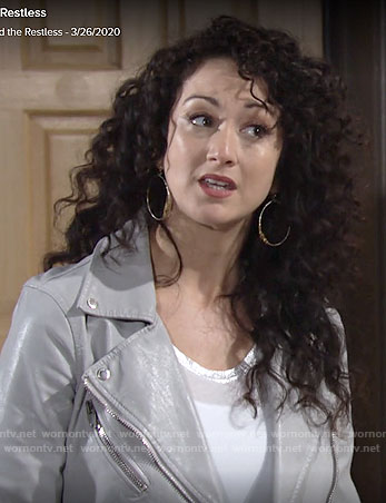 Alyssa's grey leather moto jacket and white metallic trim tee on The Young and the Restless