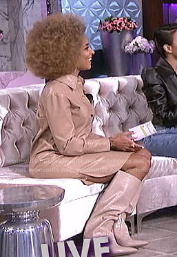 Amanda's beige leather shirtdress on The Real