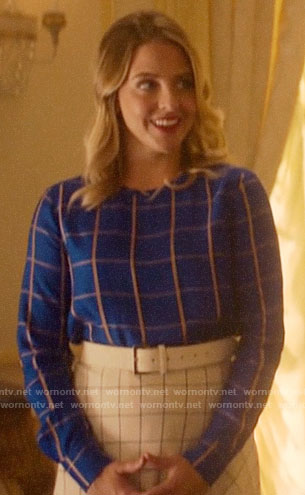 Amanda's blue checked top and white checked skirt on Katy Keene