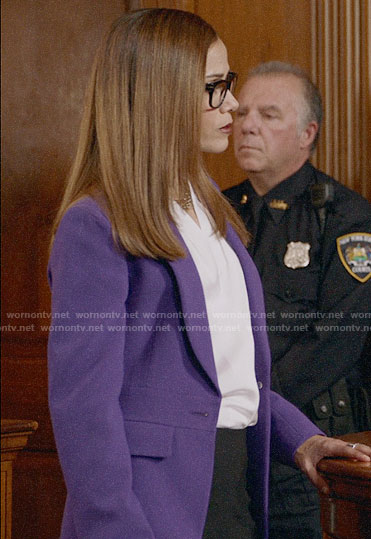 Amanda's purple blazer on Almost Family
