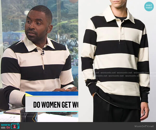 Rugby Polo Shirt by Ami worn by Justin Sylvester  on E! News