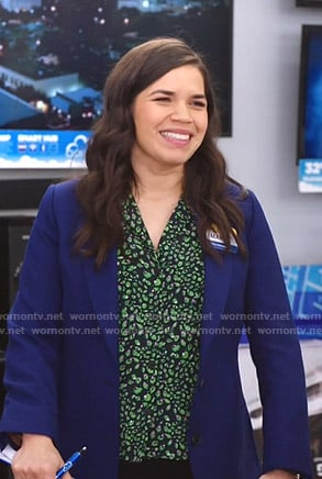 Amy's black and green floral blouse on Superstore