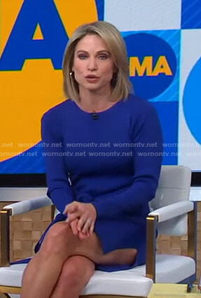 Amy's blue side slit knit dress on Good Morning America